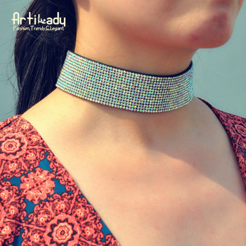 Artilady crystal leather choker necklace fashion luxury crystal women's choker for party gift