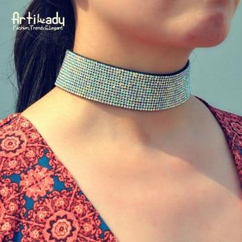 Artilady cristal en cuir collier ras du cou mode de luxe cristal ras du cou pour le cadeau de partie de femmes