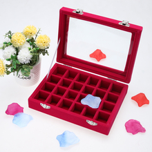 2017 Newest 1 Red Velvet Jewelry Carrying Cased  with Glass Cover Jewelry Earring Display Box Tray Holder Storage Box