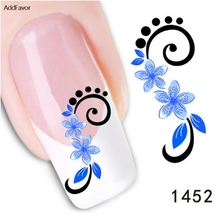4PCS DIY Nail Decals 5-Petal Blue Flower Fingernail DIY Beauty Make Up Nail Art Foils Manicure Makeup Tool Adhesive Nail Sticker