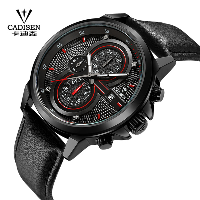 CADISEN Watch Man Quartz Watches Top Brand Luxury Leather Strap Military Sport Wristwatch Man Clock Relogio Masculino C9054<br>