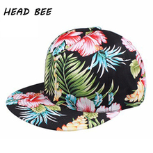 [HEAD BEE] Baseball Cap Female Brand Bone Aba Reta Print Big Flowers Smooth Along Hip Hop Hat Leaves For Women and Men