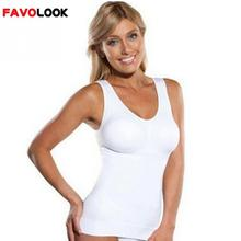 2017 Plus Size Bra Cami Tank Top Women Body Shaper Removable Shaper Underwear Slimming Vest Corset Shapewear(China)