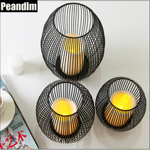 Peandim Retro LED Iron Cage Lantern Candle Holder Wedding Candlestick Home Furnishing Ornaments Accessories Plastic Candle Free