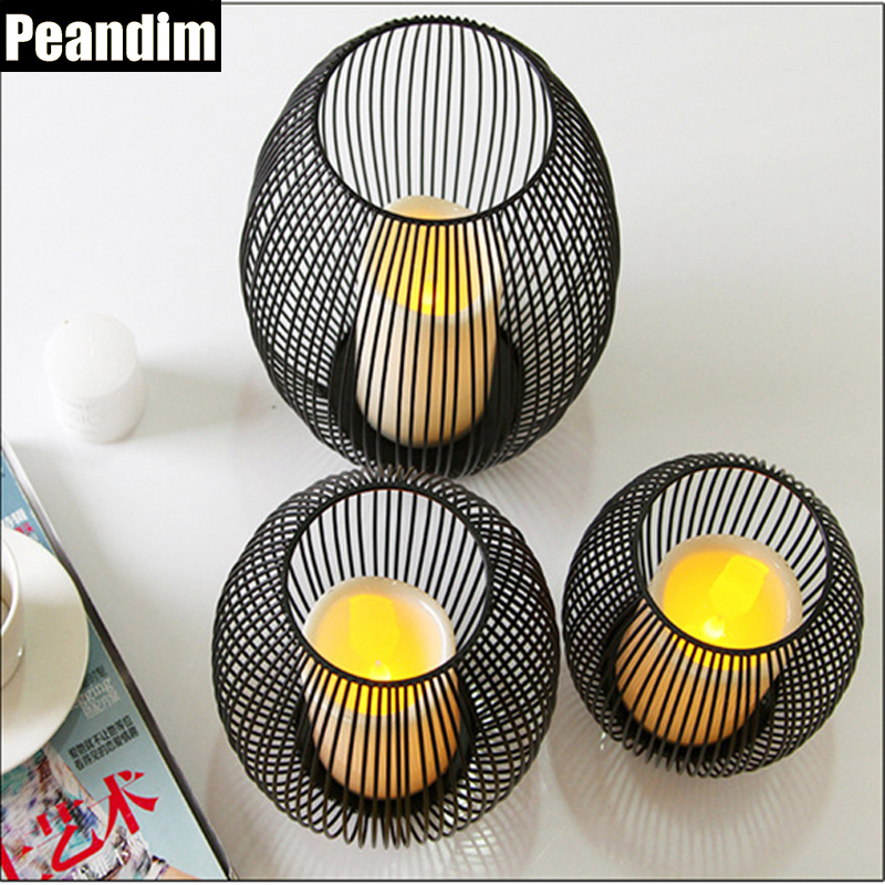 Peandim Vitange LED Iron Cage Lantern Candle Holder Wedding Candlestick Home Decors Ornaments Accessories Plastic Candle Free(China)