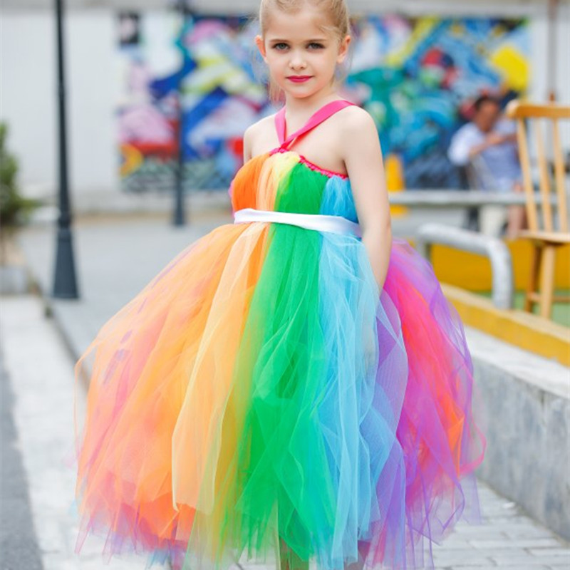 New Girls Rainbow Tutu Dress Tulle Flower Girl Princess Dress Girls Party Wedding Prom Pageant Dresses Kids Evening Gowns <br><br>Aliexpress