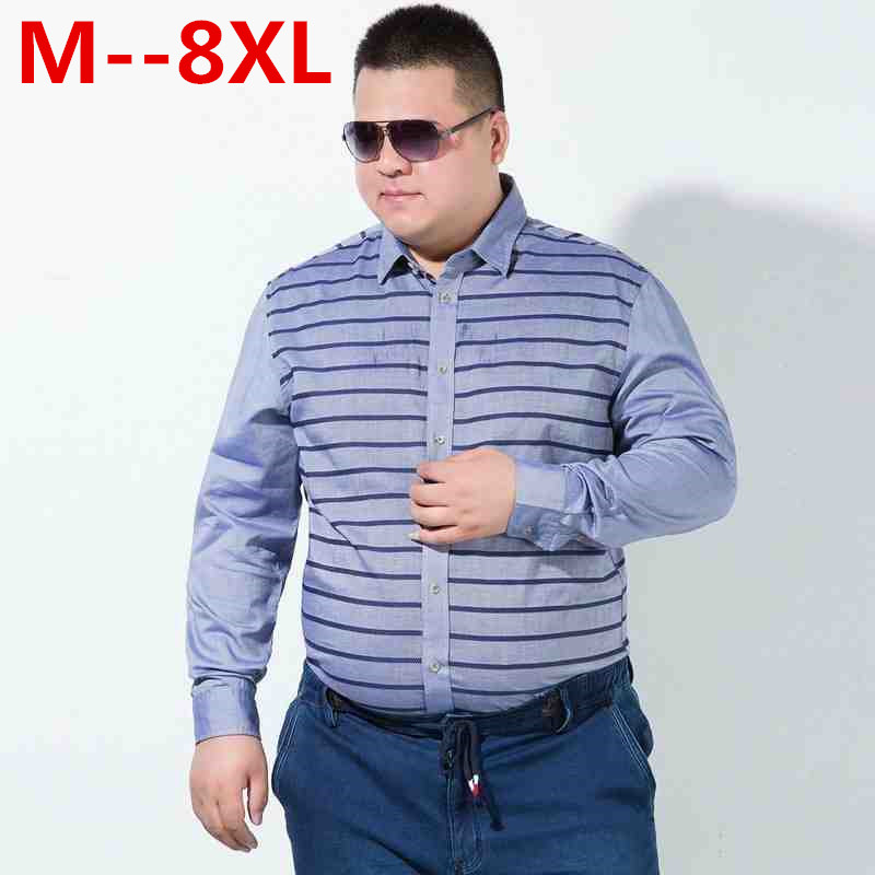 10XL 8XL 6XL 5XL 4X Men's Casual Shirts Brand Long Sleeve Shirts Loose Fit White Dress Shirt Stitching Clothing Camisa Masculina