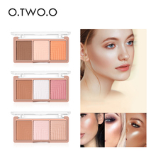 O.TWO.O 4colors Highlighter Powder Blush Brush Palette 3d Face Contour Highlighter Shading Powder Face Make up(China)