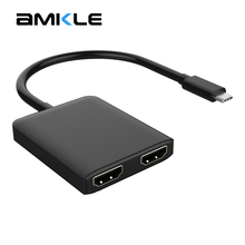 Amkle USB C HUB Adapter USB C 3.1 to HDMI Adapter USB Type C Male to Dual HDMI Female 4K 30Hz UHD Video Converter for Macbook(China)