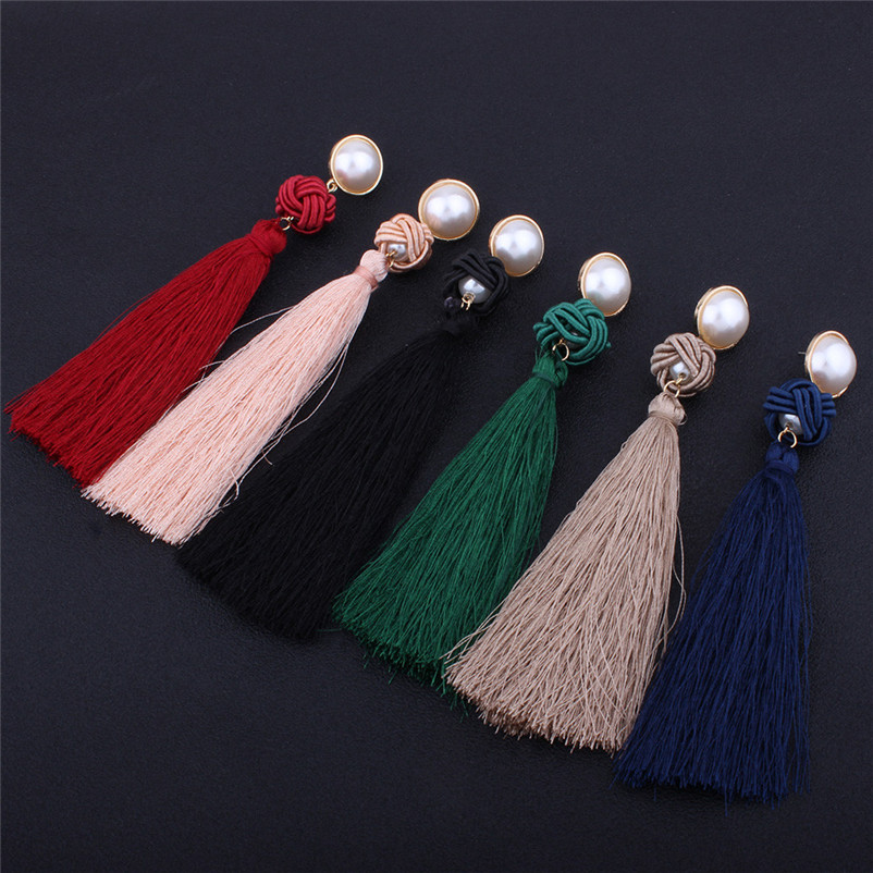 Trendry Earrings for Women Vintage Bohemian Fashion Weave Tassel Earrings Long Drop Earrings Jewelry for gift Brincos J05#N (27)