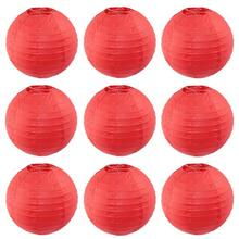 8''(20cm) Red Round Chinese Lantern White Paper Lanterns For Wedding Birthday Party Decorations Home Yard Garden Hanging Decor