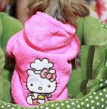 Pink Hello Kitty Pet Dog Cat Hoodie Coat Winter Jackets Warm Fleece Sweaters Puppy Jumpers Dog Clothes XS S M L XL