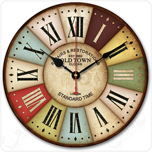 12/14 inches multicolor Option Rustic vintage fashion american style brief classical decoration silent mute wall clock(China)