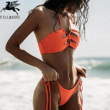 FILLMANNS New Women Sexy Wire Free Bikini Set Padded orange solid Women Swimsuit beach Low Waist Female Swimwear Bikinis Set