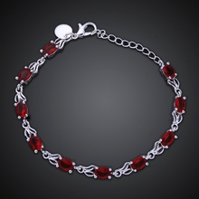Women's Jewelry 8 inch bracelet 925 Sterling Silver Fashion Charm Classic Red Crystal Chain Bracelets Bangle gift bag H350(China)