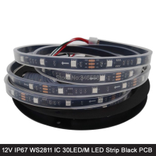 5M 12V WS2811 Addressable RGB Pixel LED Strip 30LED/M, 1 External 2811 IC Control 3 LEDs, 5050SMD IP67 Tube Waterproof Black PCB