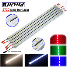 RAYWAY 5pcs*50cm 50CM DC 12V 36 SMD 5730 LED Hard Rigid LED Strip Bar Light with U Aluminium shell + pc cover + DC Connector