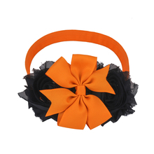 Halloween Headbands Holiday Party Hair Band Black and Orange Shabby Chiffon Hairbands Children Sequin Bows Accessories 360PCS(China)