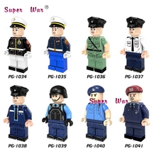 50pcs Marine Corps Policeman White Blue Coat Special Duties Unit  building block bricks for kits kid house games children toys