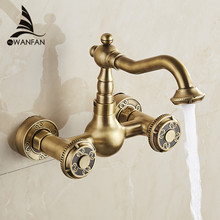 Luxury Bronze Color Bathroom Faucet Brass Kitchen Mixer Tap Faucet Wall Mounted Dual Handle Hot and Cold Taps WF-18002(China)