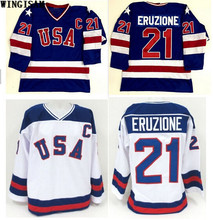 WINGISAM 2017 New Arrival 1980 Miracle On Team USA 21 Mike Eruzione Ice Hockey Jerseys Blue White Stitched USA Hockey Jersey