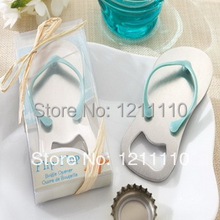 "(DHL,UPS,Fedex)FREE SHIPPING+50pcs/Lot+""Pop the Top""Blue Flip-Flop Bottle Opener Metal Slipper Beer Openers Beach Wedding Favors"