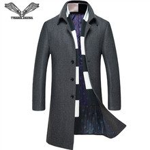 VISADA JAUNA 2017 Moda Men 's Wool Coat Scarf Two Piece Casual Long Coat Men Cotton Winter Slim Fit Coat Hombres Jacket N5847(China)