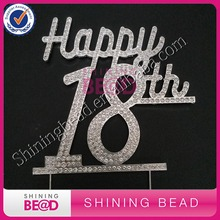 Happy 18th Birthday Rhinestone Cake Topper,FREE SHIPPING,Clear Rhinestone Number 18th Happy Birthday Cake Topper,10pieces/lot