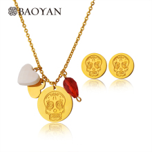 Baoyan 316L Stainless Steel Girls Gold Silver Color Skull Red Double 2 Heart Skull Pendant Necklace Cool Jewelry for Girlfriend(China)