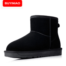 BUYINIAO Quality Cow Suede Women Snow Boots Winter Boots Lace Up Ankle Casual Brand Winter Shoes Women's Boots Plush 5854