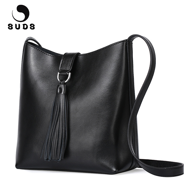 SUDS Brand Women Genuine Leather Bucket Bags Designer High Quality Female Tassel Shoulder Bags Women Cow Leather Messenger Bags<br>