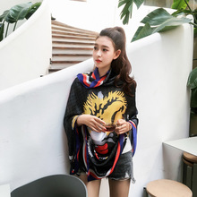 2017 New Silk Scarves Women 180*90cm Tiger Head Print Lady's Silk Scarf Spring Summer Shawl Beach Towel
