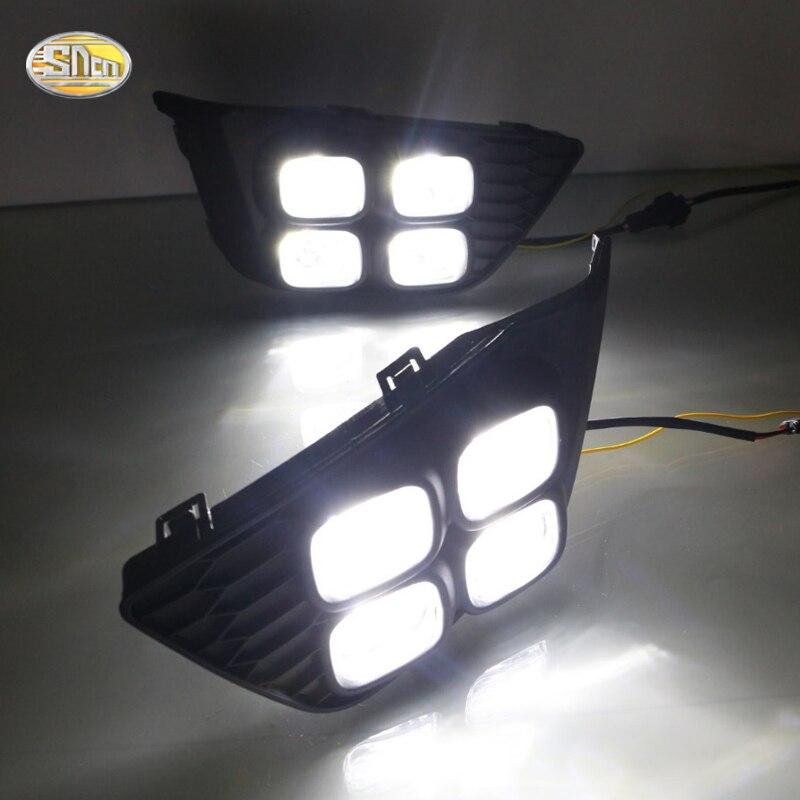 SNCN LED Daytime Running Lights for Honda Jazz fit 2014 2015 2016 LED DRL fog lamp<br>