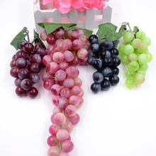 18-84heads Real Touch Artificial Red Green Black Grape Fruit For Home Wedding Kid Cognitive Toy Dining Table Kitchen Decoration