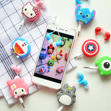 Lovely Mini in-ear 3.5mm Cartoon Earphone headphone headset earbuds retractable headphones For Samsung Android Mobile Phone(China)