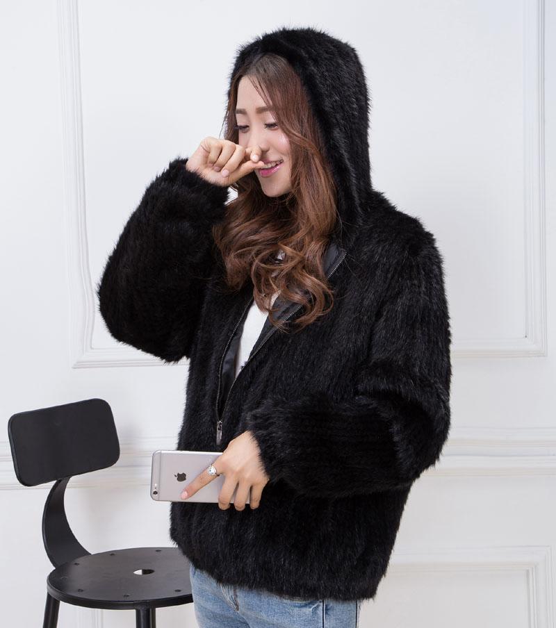 knit mink fur coat black 1