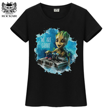 ROCKSIR Hot Guardians of the Galaxy 2 baby groot Women T-shirt Anime funko pop groot female tee shirts funny hipster femme Tops