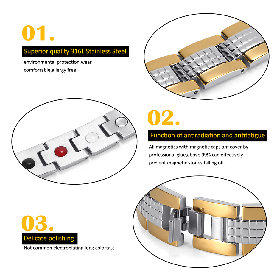 Energy Therapy Stainless Steel Bracelet  (2)