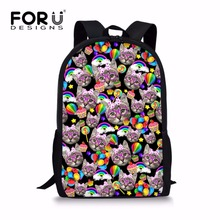 FORUDESIGNS Europe Style Kitty Cat Bagpack Princess Girls Backpack for School Cute Grade Student Kids Rucksack Knapsack Mochila(China)
