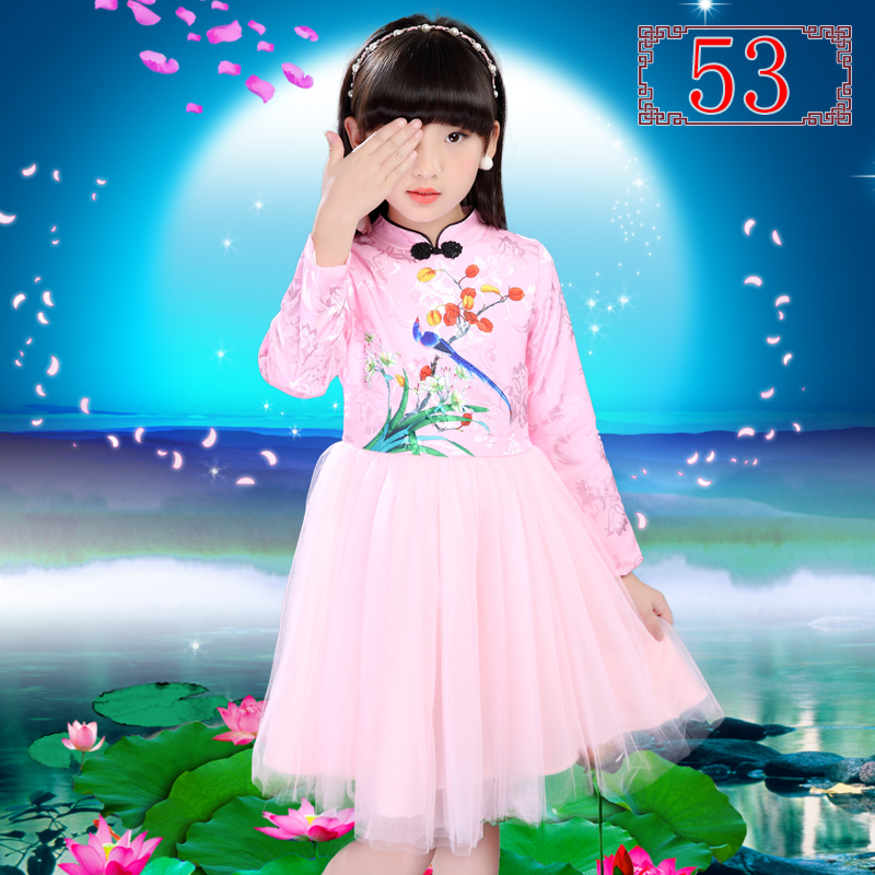 4T-14T Childrens Clothing Dresses Chinese Style Cheongsam Long Sleeve Dress Flowers Baby Girl Clothes Princess Dress Summer V20<br>