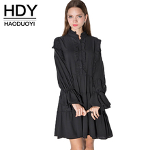HDY Haoduoyi 2017 Apparel Black Vintage Dress Women Clothing Casual Loose Cute Female Vestido Ruffle Butterfly Sleeve Mini Dress(China)