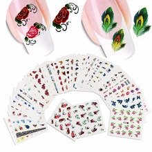 Wholesales 50sheets Watermark Nail Stickers Mixed Flower Cartoon Nails Art Water Transfer DIY Nails Tips Sticker Decals Manicure