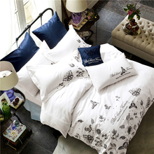 2017New fashion 100%Cotton Tribute Silk Bedding Sets White black flowers Embroidered Hotel home Duvet Cover Set King Queen Size