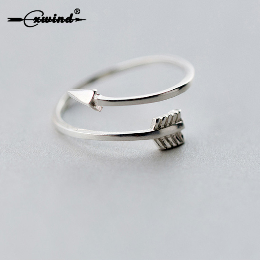 Cxwind New Fashion Silver Adjustable Arrow Ring Mid Finger Wrap Feather Leaf Rings for Women Charm Party Gift Jewelry Wholesale