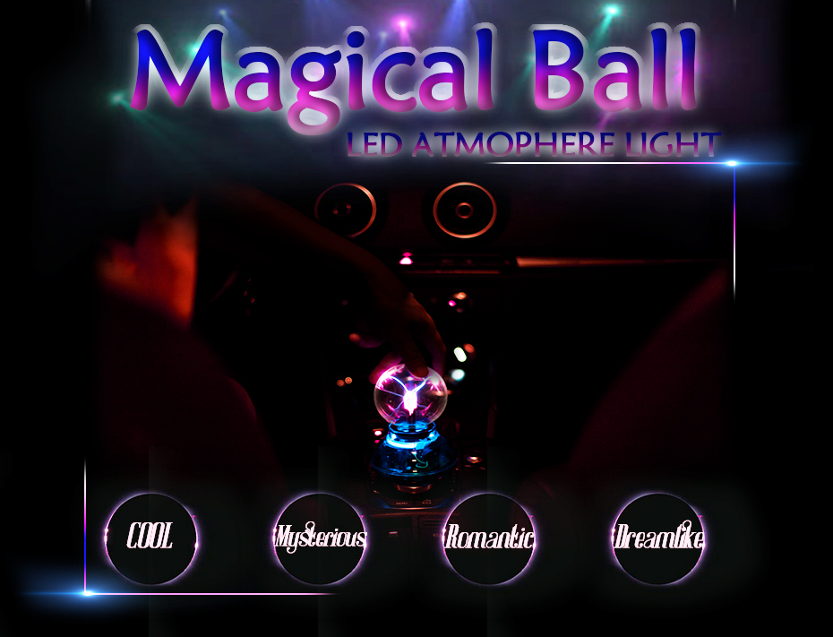 CNSUNNYLIGHT Car Music Sound Control LED USB Plasma Ball Electrostatic Lamp Decoration Atmosphere DJ Lights Party Magic Lighting (4)