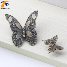 Antique Butterfly Cupboard Door Knobs and Handles Kitchen Cabinet Knob Drawer Pulls Furniture Decorative Handles(China)