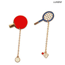 1 Pcs/set New Fashion Enamel Badminton Ping-pong Racket Women Brooches