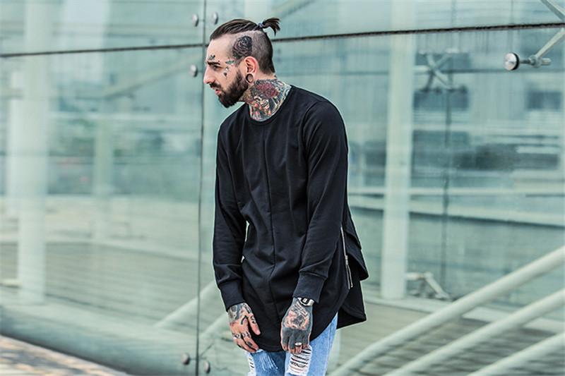 Cross Printed Hip Hop Sweatshirt Men 17Spring Streetwear Curved Hem Side Zipper Plain Mens Sweatshirts and Hoodies Man Clothes 5