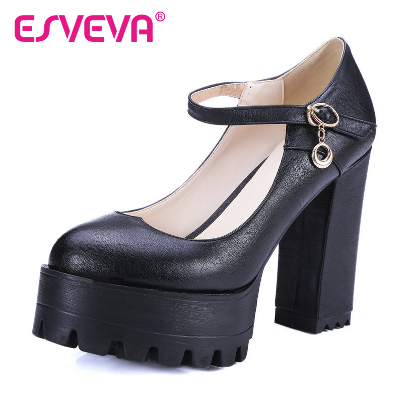 ESVEVA  Mary Janes Buckle Strap Platform Round Toe Women Pumps Square High Heels Autumn/Spring Girl Party Shoes Size 34-42 White<br>