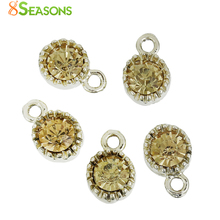 8SEASONS Zinc Based Alloy Charms Round Light Golden Champagne Light Green Royal Blue Red Fuchsia Deep Green Rhinestone, 10 PCs
